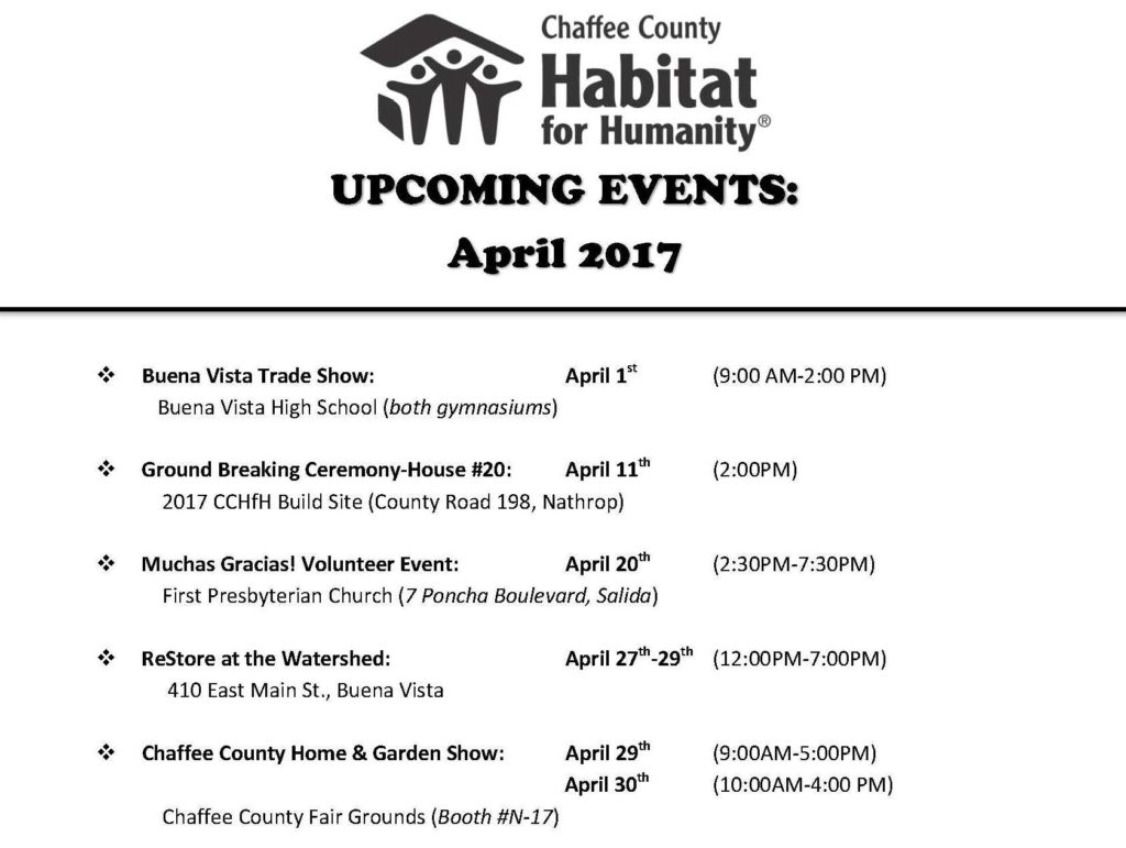 CCHfH-April 2017 Events