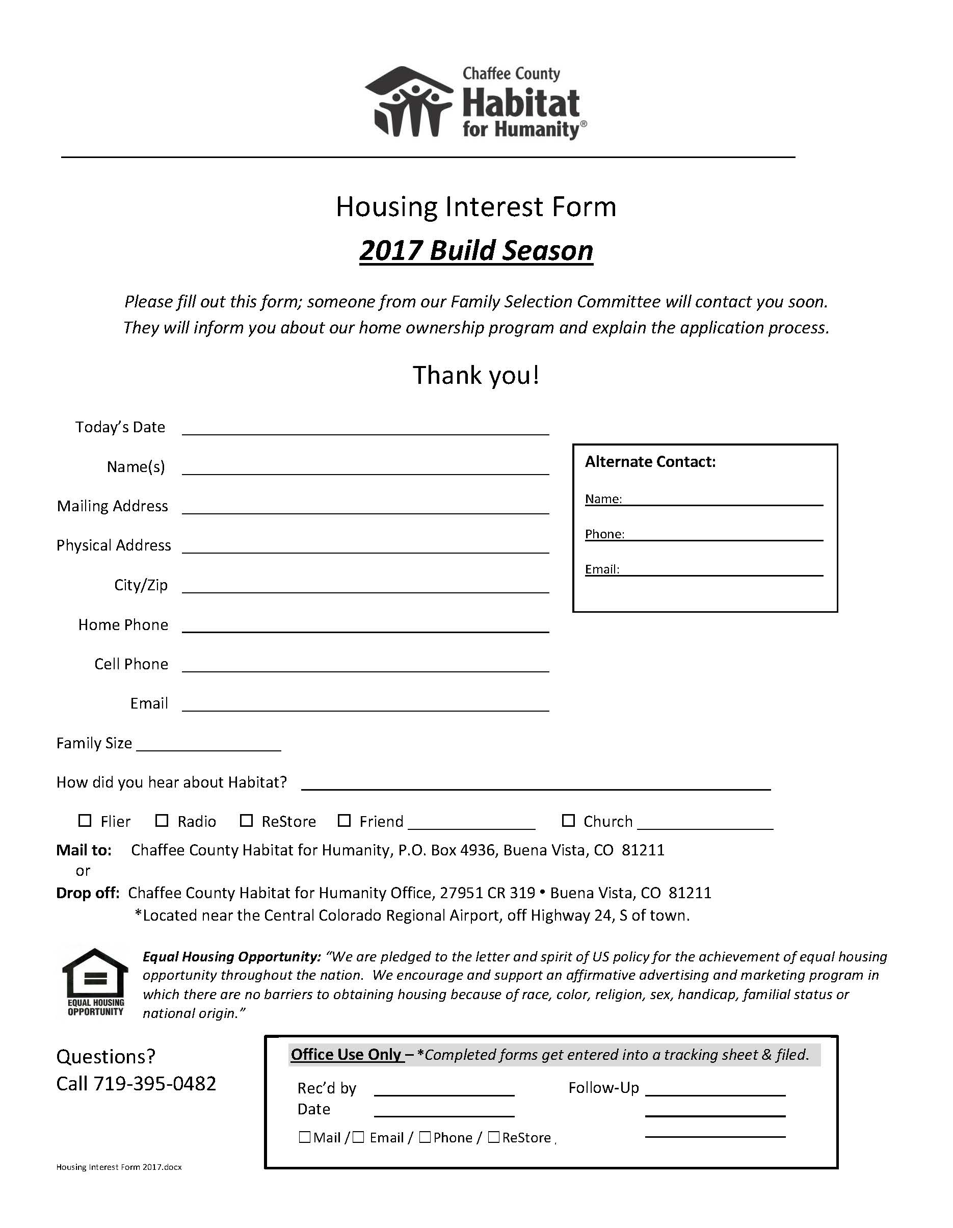 Housing Interest Form 2017