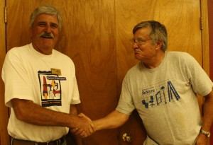 2013 Chili Cookoff - Dale Shoemaker congratulating winner Gerry Dixon