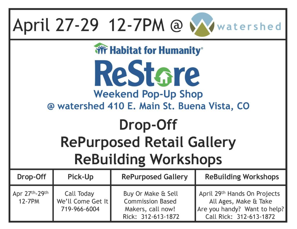 ReStore Weekend Pop Up At the Watershed_040117